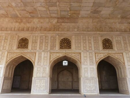 uttar pradesh: Diwan-i- Khas (Hall of Private Audience) in Agra Fort, Uttar Pradesh, India. The fort was built primarily as a military structure, but was later upgraded to a palace.