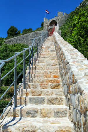 Defensive walls of Ston town, Peljesac Peninsula, Croatia. Ston was a major fort of the Ragusan Republic Stock Photo