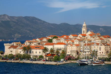 dalmatia: View of Korcula old town, Croatia. Korcula is a historic fortified town on the protected east coast of the island of Korcula