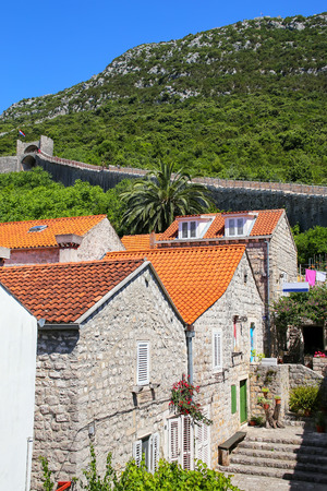dalmatia: Ston town and its defensive wall, Peljesac Peninsula, Croatia. Ston was a major fort of the Ragusan Republic