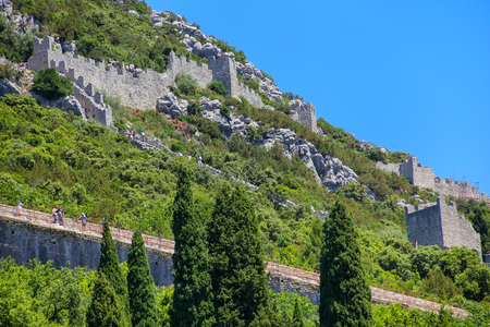 Defensive walls of Ston town, Peljesac Peninsula, Croatia. Ston was a major fort of the Ragusan Republic Editorial