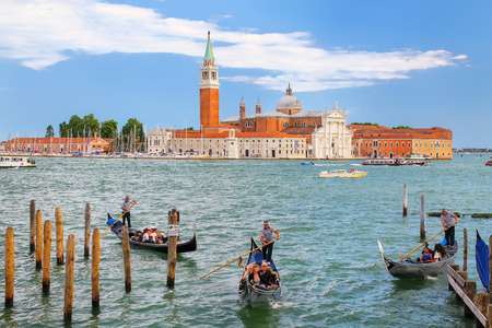 San Giorgio Maggiore island seen from San Marco square in Venice, Italy. Venice is situated across a group of 117 small islands that are separated by canals and linked by bridges.