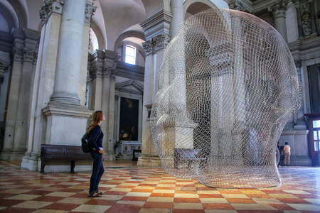 Sculptural installation by Jaume Plensa during Venice Art Biennale in May 2015 inside San Giorgio Maggiore church in Venice, Italy.