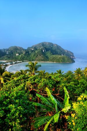 View of Phi Phi Don Island from an overlook, Krabi Province, Thailand. Koh Phi Phi Don is part of a marine national park.
