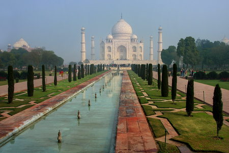 Taj Mahal in early morning for, Agra, Uttar Pradesh, India. It was build in 1632 by Emperor Shah Jahan as a memorial for his second wife Mumtaz Mahal.