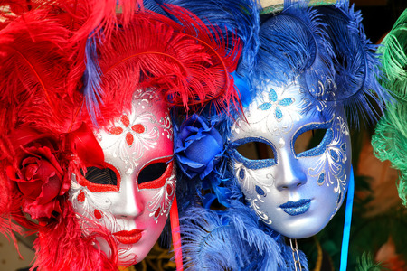 the merchant of venice: Display of masks at a souvenir shop in the street of Venice, Italy. Masks have always been an important feature of the famous Venetian carnival.