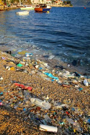 croatian: Beach polluted with plastic garbage due to sea currents, Korcula island, Croatia. Stock Photo