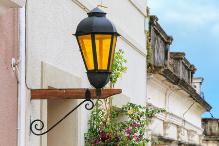 Close-up of a street lamp in historic quarter of Colonia del Sacramento, Uruguay. It is one of the oldest towns in Uruguay