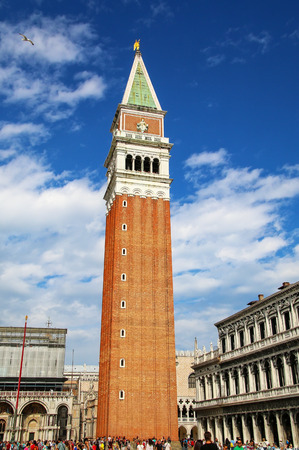 St Marks Campanile on Piazza San Marco in Venice, Italy. It is one of the most recognizable symbols of the city.
