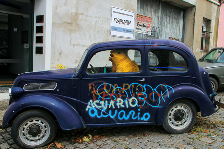 Old car parked in historic quarter of Colonia del Sacramento, Uruguay. It is one of the oldest towns in Uruguay