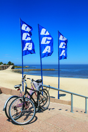 Bicycles parked by the beach along Rio de la Plata, Montevideo, Uruguay. Montevideo is the capital and the largest city of Uruguay