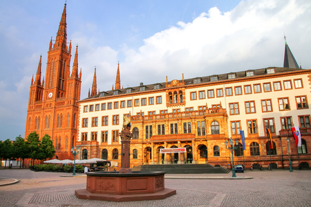 Schlossplatz square with Market Church and New Town Hall in Wiesbaden, Hesse, Germany. Wiesbaden is one of the oldest spa towns in Europe