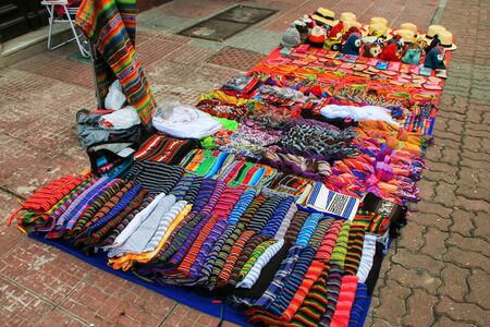 Display of traditional textile at the street market in Montevideo, Uruguay. Montevideo is the capital and largest city of Uruguay. Stock Photo
