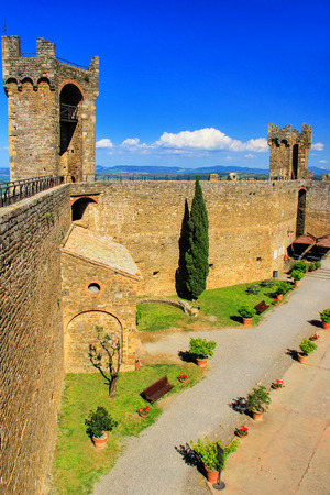 Courtyard of Montalcino Fortress in Val dOrcia, Tuscany, Italy. The fortress was built in 1361 atop the highest point of the town. Editorial