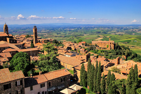View of Montalcino town from the Fortress in Val dOrcia, Tuscany, Italy.