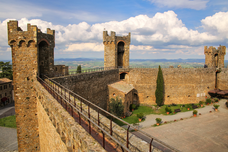 Courtyard of Montalcino Fortress in Val dOrcia, Tuscany, Italy.