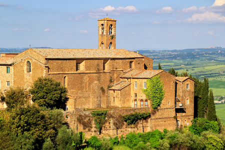 Old church in Montalcino town, Val dOrcia, Tuscany, Italy.