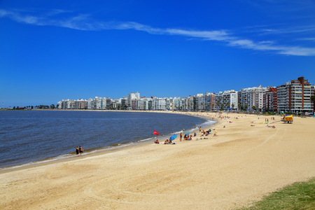 Pocitos beach along the bank of the Rio de la Plata in Montevideo, Uruguay. Montevideo is the capital and the largest city of Uruguay Editorial
