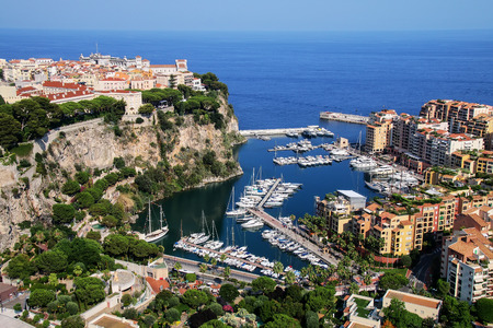 ville: View of Monaco City and Fontvieille with boat marina in Monaco.
