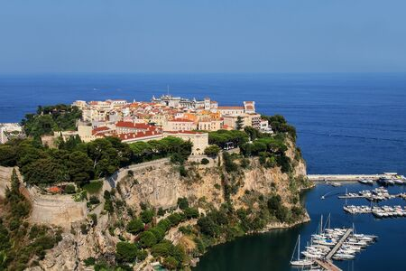 ville: View of Monaco City located on The Rock in Monaco.