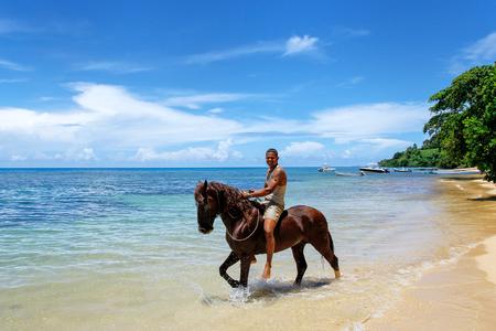 Young man riding horse on the beach on Taveuni Island, Fiji. Taveuni is the third largest island in Fiji. Editorial