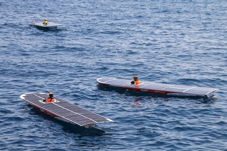 Solar boats in Port Hercules during Monaco Solar Boat Challenge. It is for vessels powered only by the sun.