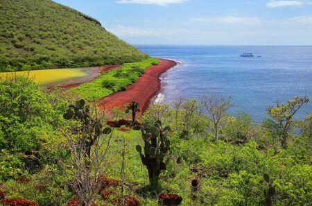 View of red beach and lagoon of Rabida Island, Galapagos National Park, Ecuador