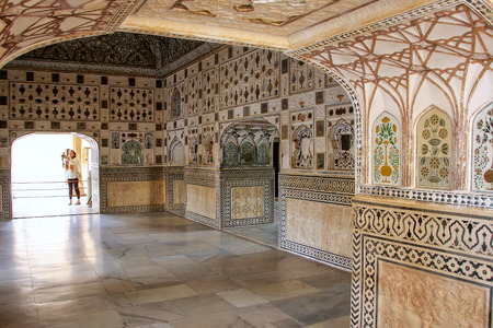 Jai Mandir (Mirror Palace) in Amber Fort, Rajasthan, India. Amber Fort is the main tourist attraction in the Jaipur area.