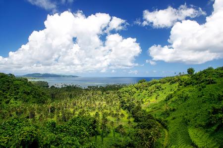 View of Bouma National Heritage Park and Somosomo strait on Taveuni Island, Fiji. Taveuni is the third largest island in Fiji.