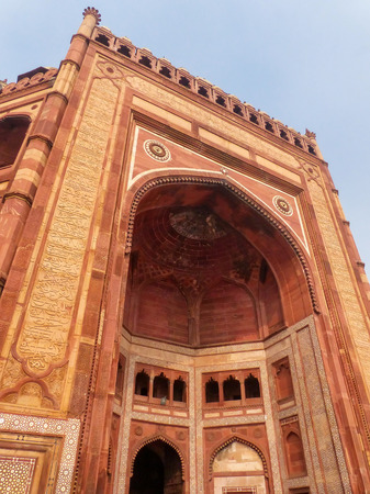 Buland Darwasa (Victory Gate) leading to Jama Masjid in Fatehpur Sikri, Uttar Pradesh, India. It is the highest gateway in the world and is an example of Mughal architecture.
