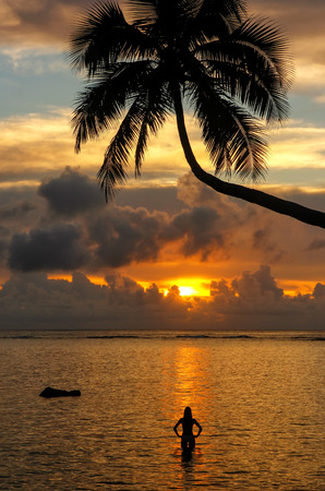 Silhouette of leaning palm tree and a woman at sunrise on Taveuni Island, Fiji. Taveuni is the third largest island in Fiji. Stock Photo