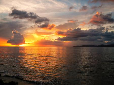 Colorful sunset over Somosomo Strait on Taveuni Island, Fiji. Taveuni is the third largest island in Fiji.