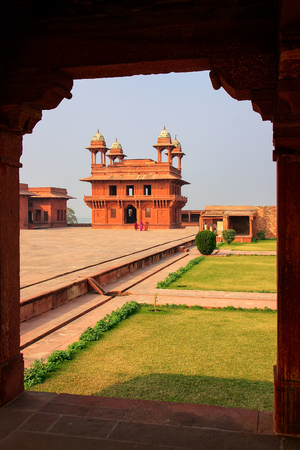 Diwan-i-Khas (Hall of Private Audience) seen from Diwan Khana-i-Khas in Fatehpur Sikri, Uttar Pradesh, India. Fatehpur Sikri is one of the best preserved examples of Mughal architecture in India.