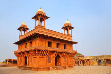Diwan-i-Khas (Hall of Private Audience)  in Fatehpur Sikri, Uttar Pradesh, India. Fatehpur Sikri is one of the best preserved examples of Mughal architecture in India. Editorial