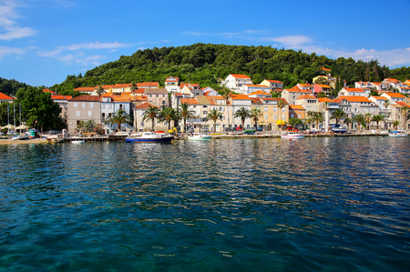 Waterfront of Korcula town, Croatia. Korcula is a historic fortified town on the protected east coast of the island of Korcula