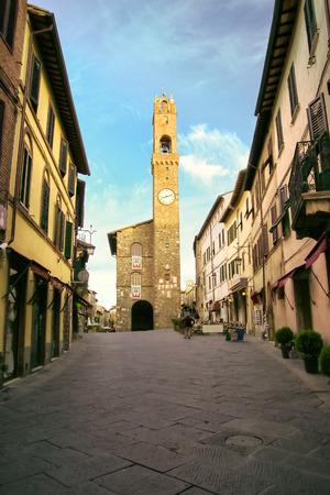 Palazzo dei Priori on Piazza del Popolo in Montalcino, Val dOrcia, Tuscany, Italy. It was built in the late 13th, early 14th century. Editorial
