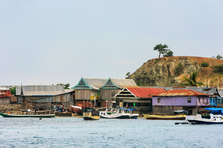 Typical village on small island in Komodo National Park, Nusa Tenggara, Indonesia. Komodo National Park is home to about 3500 people.