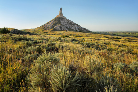 Chimney Rock National Historic Site, western Nebraska, USA. The peak of Chimney Rock is 1289 meters above sea level.