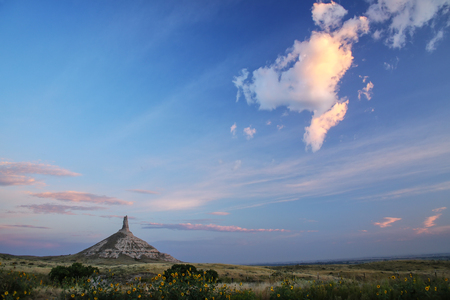 Chimney Rock National Historic Site in early morning, western Nebraska, USA. The peak of Chimney Rock is 1289 meters above sea level.