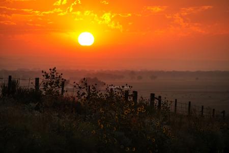 Sunrise at North Platte River valley, western Nebraska, USA Stock Photo