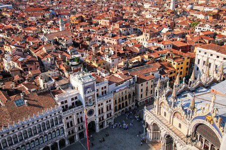 View of Venice from St Mark's Campanile, Italy. Venice is one of the most important tourist destinations in the world for its celebrated art and architecture