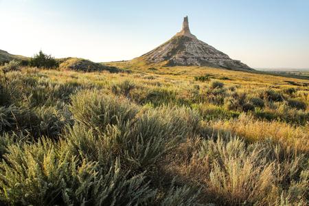 Chimney Rock National Historic Site, western Nebraska, USA. The peak of Chimney Rock is 1289 meters above sea level.