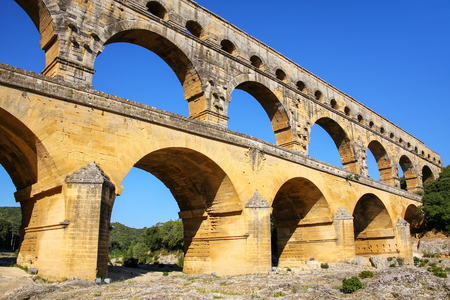 Aqueduct Pont du Gard in southern France. It is the highest of all elevated Roman aqueducts.