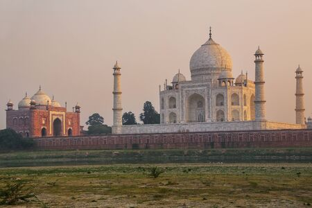View of Taj Mahal from Mehtab Bagh garden in the evening, Agra, Uttar Pradesh, India. Stock Photo