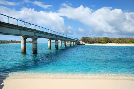 Mouli Bridge between Ouvea and Mouli islands, Loyalty Islands archipelago, New Caledonia.