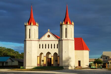 Fayaoue Catholic Church on Ouvea Island, Loyalty Islands, New Caledonia.  Fayaoue is the administrative centre of the commune. Stok Fotoğraf
