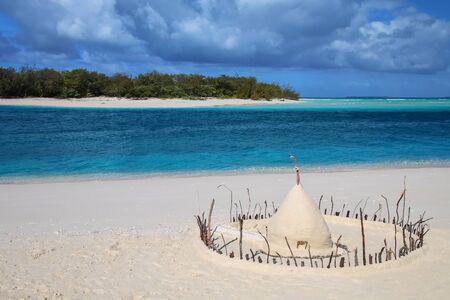 Sand castle on the shore of Ouvea lagoon, Loyalty Islands, New Caledonia. Stok Fotoğraf