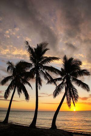 Sunset over Ouvea lagoon on Ouvea Island, Loyalty Islands, New Caledonia. Stok Fotoğraf