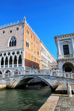 View of Rio di Palazzo and Doge's Palace in Venice, Italy. The palace was the residence of the Doge of Venice.