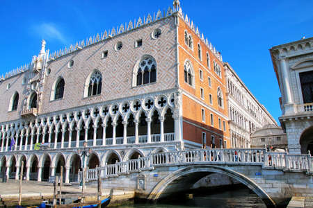 View of Palazzo Ducale from Grand Canal in Venice, Italy. The palace was the residence of the Doge of Venice. Stock Photo